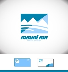 Blue mountain rectangle logo tourism tourist vector image vector image