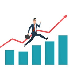 Businessman running grow up graph business cartoon vector