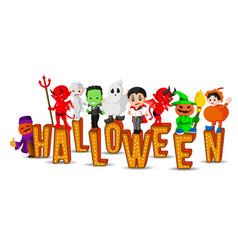 cute kids wearing halloween costumes vector image vector image
