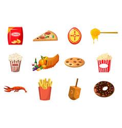 food icon set cartoon style vector image