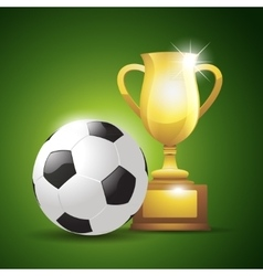 Gold cup with a football ball vector image vector image
