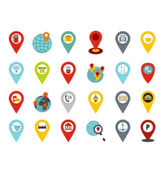 pin map icon set flat style vector image