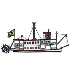 the old paddle steam riverboat vector image