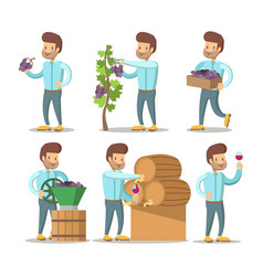 winemaker cartoon with grapes and wine vector image