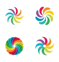 Bright colors rainbow flower logo set vector image