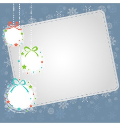 Christmas ball toys card with snowflakes vector image vector image