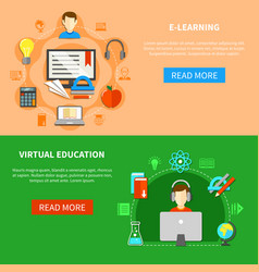 e learning banner set vector image vector image