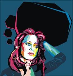 flat polygon woman portrait vector image vector image