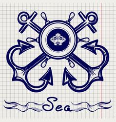 Royal fleet emblem on notebook page vector