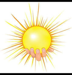 Sun in people hand vector image