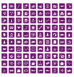 100 online shopping icons set grunge purple vector image