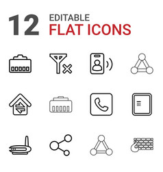 12 connection icons vector image