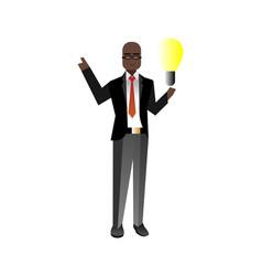 African businessman holding idea light bulb vector