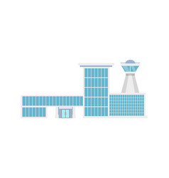 Airport terminal with flight control tower icon vector