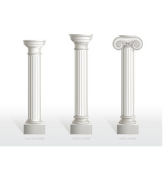 Antique columns set tuscan doric ionic order vector