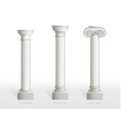 antique columns set tuscan doric ionic order vector image