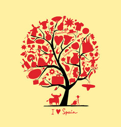 art tree with spain symbols for your design vector image