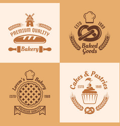 bakery and pastries four colored emblems vector image