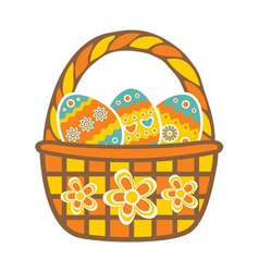 Basket with Easter eggs vector