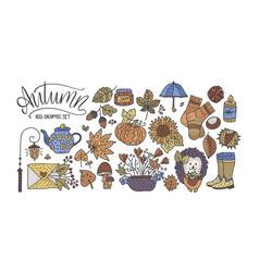 big autumn icon set cozy fall hand drawn vector image