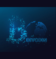 bitcoin sign with glowing explosion effect vector image