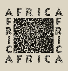 black background giraffe and text africa vector image