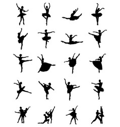 black silhouettes of ballerinas vector image