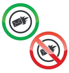 Burning letter permission signs vector