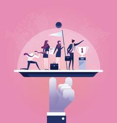 Business service team on a platter vector