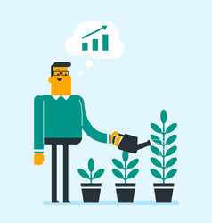businessman watering trees of three sizes vector image
