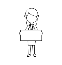 businesswoman character avatar with label vector image