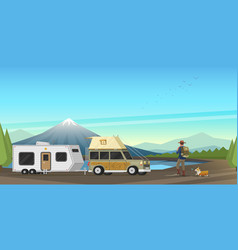 camping holidays travel with the family vector image