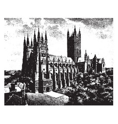Canterbury cathedral archbishop debate vintage vector