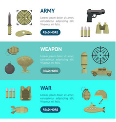 cartoon color army weapons banner horizontal set vector image