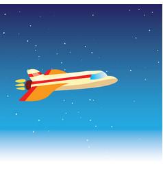 cartoon cute plane in blue vector image