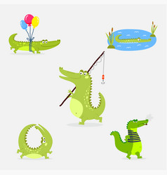 Cartoon green crocodile funny predator australian vector