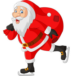 cartoon santa claus skater carrying a bag gifts vector image