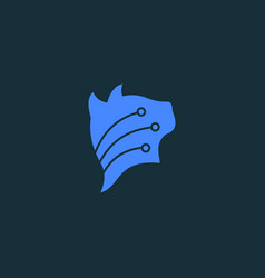 cat connection logo template blue head cat vector image