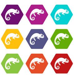 Chameleon icon set color hexahedron vector