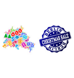 christmas sale composition of mosaic map of berlin vector image