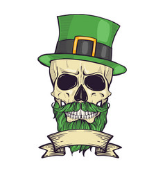 color handdrawn skull of leprechaun vector image