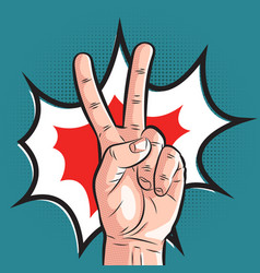 Comic hand showing victory gesture pop art peace vector