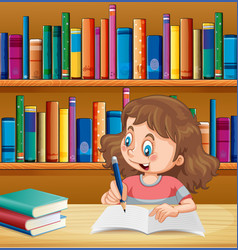 Cute girl writing in notebook in library vector