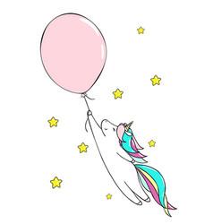 Cute little unicorn and baloon vector