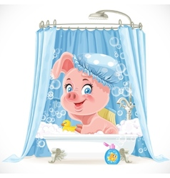 Cute pink little piggy taking a bath with foam vector image vector image