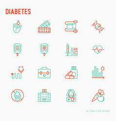 diabetes thin line icons set vector image