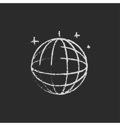 Disco ball icon drawn in chalk vector