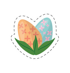 easter eggs with leaves decoration - cut line vector image
