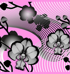 elegant seamless floral pattern with orchids vector image