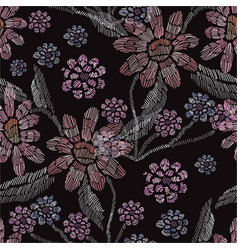 Embroidery floral seamless pattern vector